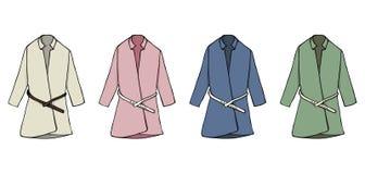 Пальто иллюстрации моды собрания Установленный модный чертеж вектора женского пальто Одежды осени сезонные иллюстрация штока