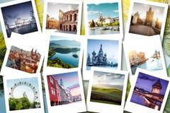 Памяти показанные на поляроидных фото - летние каникулы Eurotrip Стоковое Фото
