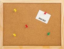 памятка пробочки доски пустая Стоковое Изображение RF