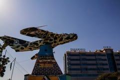 Памятник воздушных судн MIG в центре Харгейсы 09 01 2016 Somalilend, Сомали Стоковое Изображение