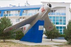 Памятник в честь n d Gulaeva - реактивный самолет MIG-17 1949, Anapa, Россия Стоковое Фото