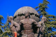 Памятник защитников македонии на парке Zena, скопье, стоковые изображения rf