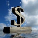 Памятник знака доллара с оптимистическим внешним видом Стоковое Изображение