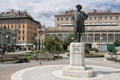 Памятник Ивана Zajc в городе Риеки в Хорватии стоковое изображение rf