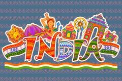 Памятник и культура Индии в индийском стиле искусства иллюстрация штока