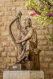Памятник короля Дэвида с арфой Стоковые Фото