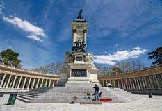 Памятник к ` Альфонс XII ` в ` Parque del Retiro ` Стоковое Изображение RF