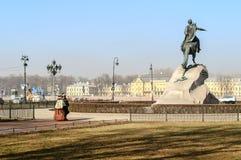 Памятник к Питеру большой (бронзовый наездник) Стоковые Фото