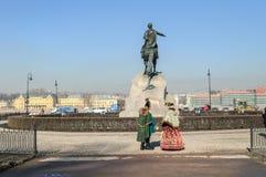 Памятник к Питеру большой (бронзовый наездник) Стоковые Фотографии RF
