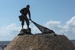 Памятник к рыболову в городе Chetumal, Мексики Стоковое Изображение