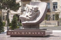 Памятник к советскому азербайджанскому композитору Gara Garayev в Баку, Азербайджане 7-ое июля 2014 Стоковые Фотографии RF