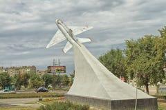 Памятник к MIG-21 в Моздоке Стоковые Фотографии RF