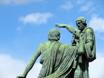 Памятник к Minin и Pozharsky на красной площади в Москве Русский наземный ориентир Стоковые Фото