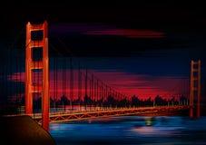 Памятник мира моста золотого строба известный исторический Сан-Франциско иллюстрация вектора