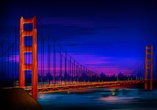 Памятник мира моста золотого строба известный исторический Сан-Франциско бесплатная иллюстрация