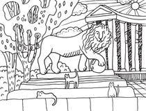Памятник с львом и котами на ем в Одессе иллюстрация вектора