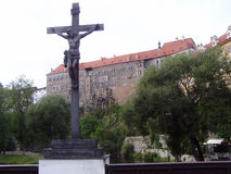 Памятник христианства в ½ Krumlov ÄŒeskà Стоковая Фотография RF