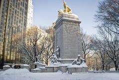 Памятник Central Park зимы Стоковые Фотографии RF