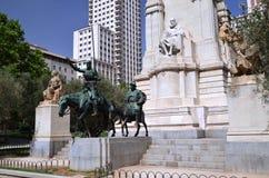Памятник Cervantes в Мадрид, Испании Стоковые Изображения