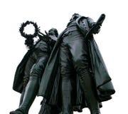 Памятник goethe и schiller в weimar на белизне Стоковая Фотография