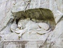 Памятник Lucerna Швейцария льва Стоковое Фото