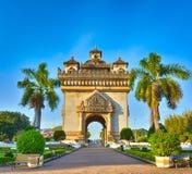 Памятник Patuxay в Вьентьян, Лаосе Стоковые Фотографии RF