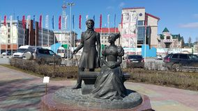 Памятник Pushkin и его жены Стоковое Изображение