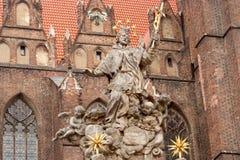 Памятник St января Nepomucky, острова Tumski, Wroclaw Стоковые Фотографии RF