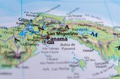 Панама на карте Стоковые Изображения