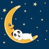 Панда игрушечного спать на луне карточка 2007 приветствуя счастливое Новый Год Стоковое Изображение