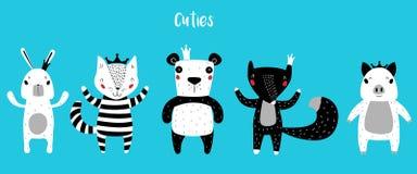 Панда, кот, и характеры Fox оставаясь совместно иллюстрация вектора