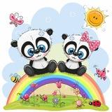 2 панды сидят на радуге иллюстрация штока
