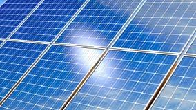 Панели солнечных батарей отражая голубое небо иллюстрация штока