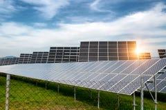 Панели солнечных батарей, photovoltaics, альтернативный источник электричества - концепция устойчивых ресурсов Стоковые Фотографии RF