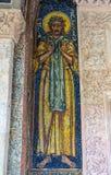 Панель мозаики с изображением St Alexei в монастыре Antim в Бухаресте, Румынии стоковые фото