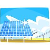 Панель солнечных батарей, продукция энергии от солнца, экологической энергии производящ станцию, возобновимые ресурсы горизонталь Стоковые Изображения RF