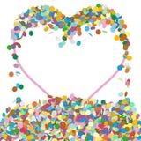 Панель текста абстрактного красочного сердца форменная с фрагментами Confetti иллюстрация штока
