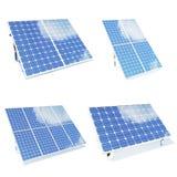 Панели солнечных батарей изолировали предпосылку белизны om Комплект панелей солнечных батарей environmetn голубые панели склонял иллюстрация штока