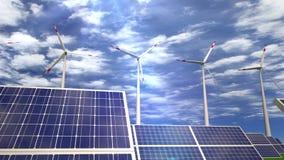 Панели солнечных батарей и ветротурбины - проходящ мимо видеоматериал
