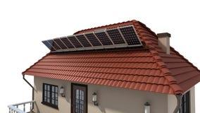 Панели солнечных батарей установки на крыше иллюстрация штока