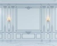 Панели стены в классическом стиле с серебрить перевод 3d Стоковые Изображения