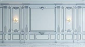 Панели стены в классическом стиле с серебрить перевод 3d Стоковое Изображение
