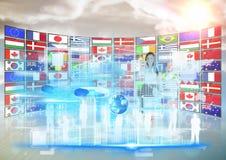 панель при бизнес-леди флагов (захода солнца) делая вещи в футуристическом экране tactil Стоковые Фотографии RF