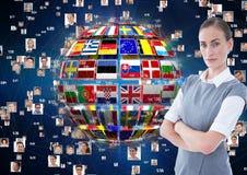 панель с флагами на предпосылке соединения шарика и фото женщина дела серьезная Стоковая Фотография RF