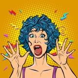 Паника женщины, страх, жест сюрприза Девушки 80s бесплатная иллюстрация