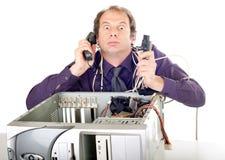 паника компьютера бизнесмена Стоковое фото RF