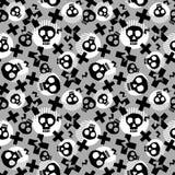 Панковская безшовная картина с черепами grunge смелейшими покрашенными в стиле фанк иллюстрация штока