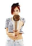 Панковская девушка с летучей мышью Стоковое Изображение RF