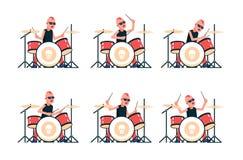 Панковский барабанщик рок-группы играя барабанчики бесплатная иллюстрация