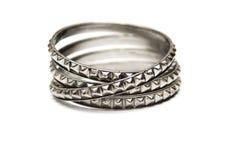 Панковский браслет металла изолированный на белизне Стоковая Фотография